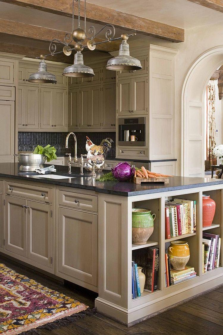 Стильный кухонный остров с открытыми полками в интерьере - Фото 20