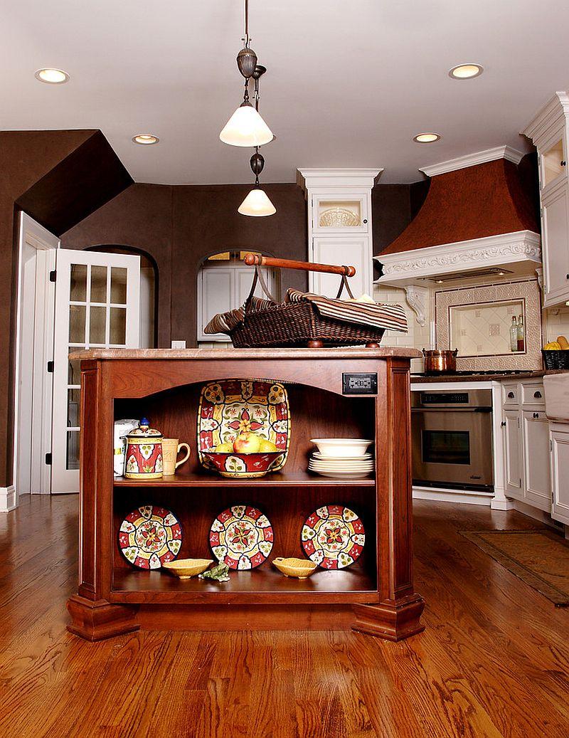 Стильный кухонный остров с открытыми полками в интерьере - Фото 22