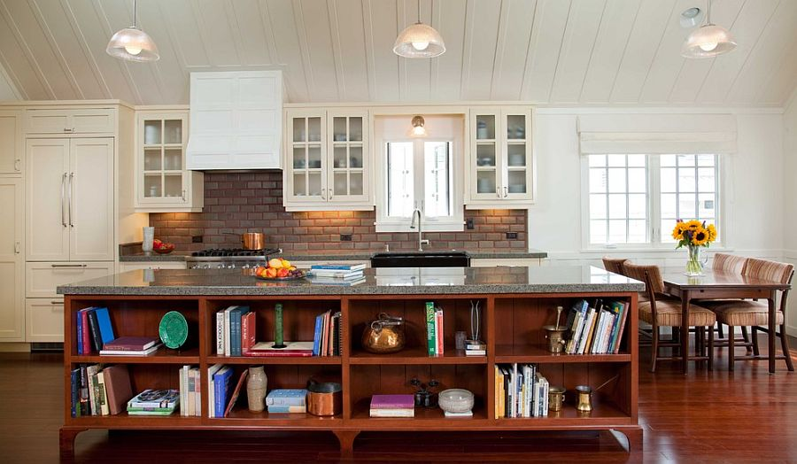 Стильный кухонный остров с открытыми полками в интерьере - Фото 24