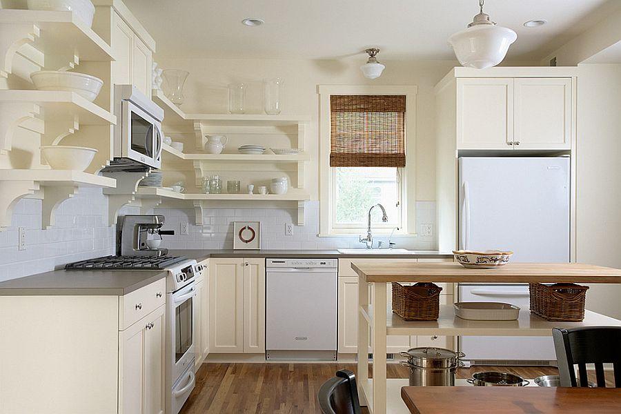 Стильный кухонный остров с открытыми полками в интерьере - Фото 31