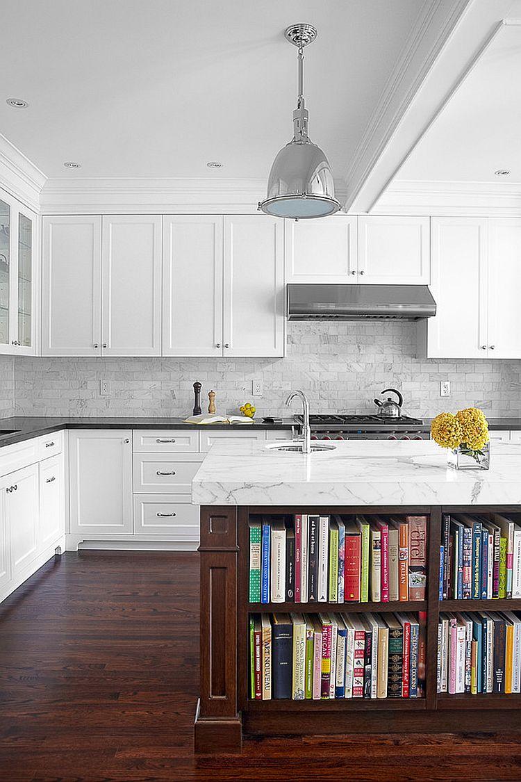 Стильный кухонный остров с открытыми полками в интерьере - Фото 8