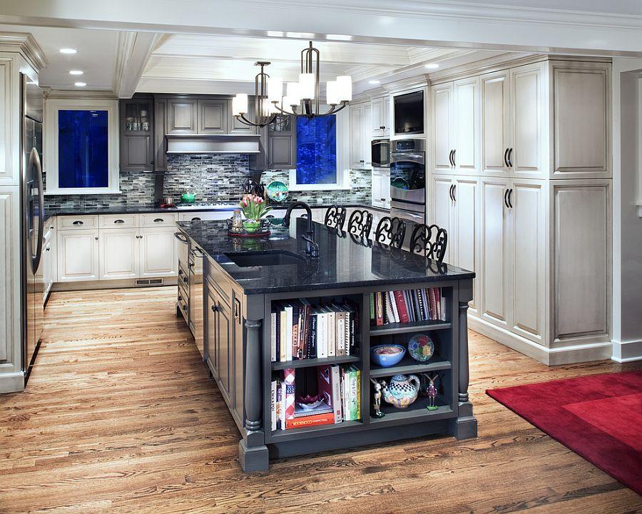 Стильный кухонный остров с открытыми полками в интерьере - Фото 9