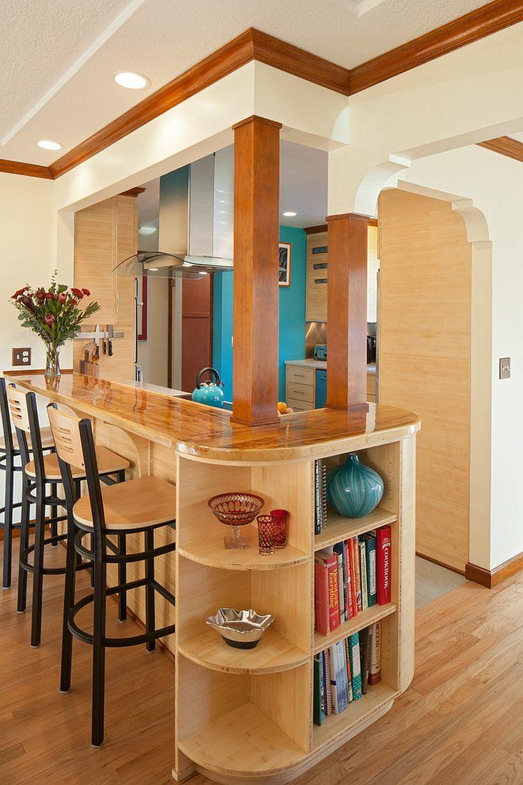 Стильный кухонный остров с открытыми полками в интерьере - Фото 19