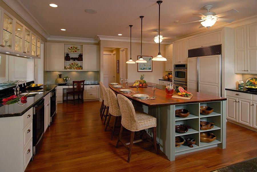 Стильный кухонный остров с открытыми полками в интерьере - Фото 27