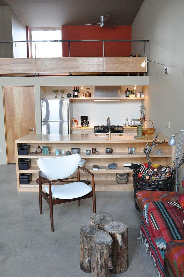 Стильный кухонный остров с открытыми полками в интерьере - Фото 47