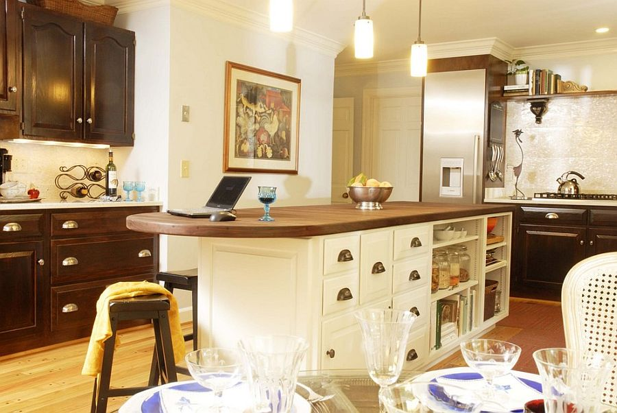 Стильный кухонный остров с открытыми полками в интерьере - Фото 49