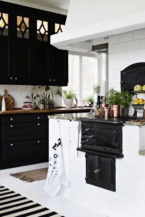 Столешницы в интерьере кухни: сочетание белого и чёрного