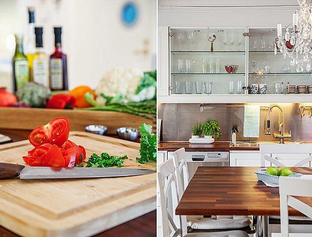 Фотоколлаж: интерьер роскошной кухни в скандинавском стиле