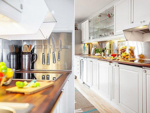 Фотоколлаж: интерьер роскошной кухни гостиной в скандинавском стиле
