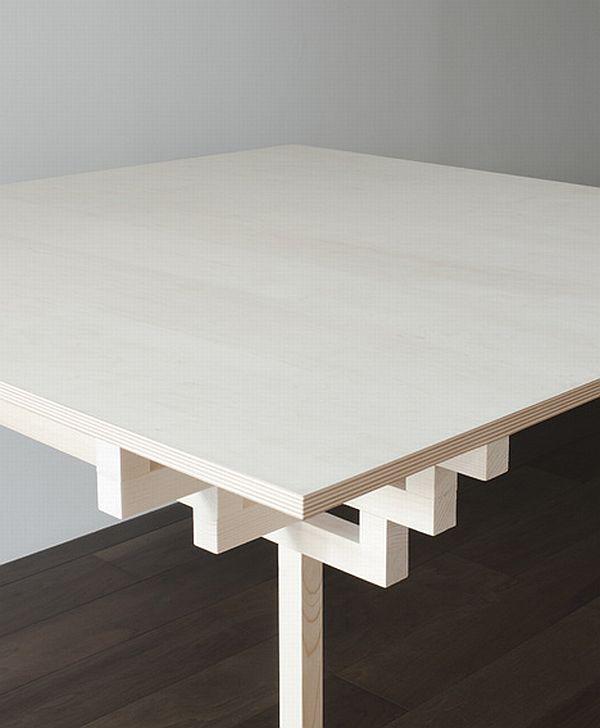 Необычный обеденный стол из белого дерева от Hiroyuki Tanaka