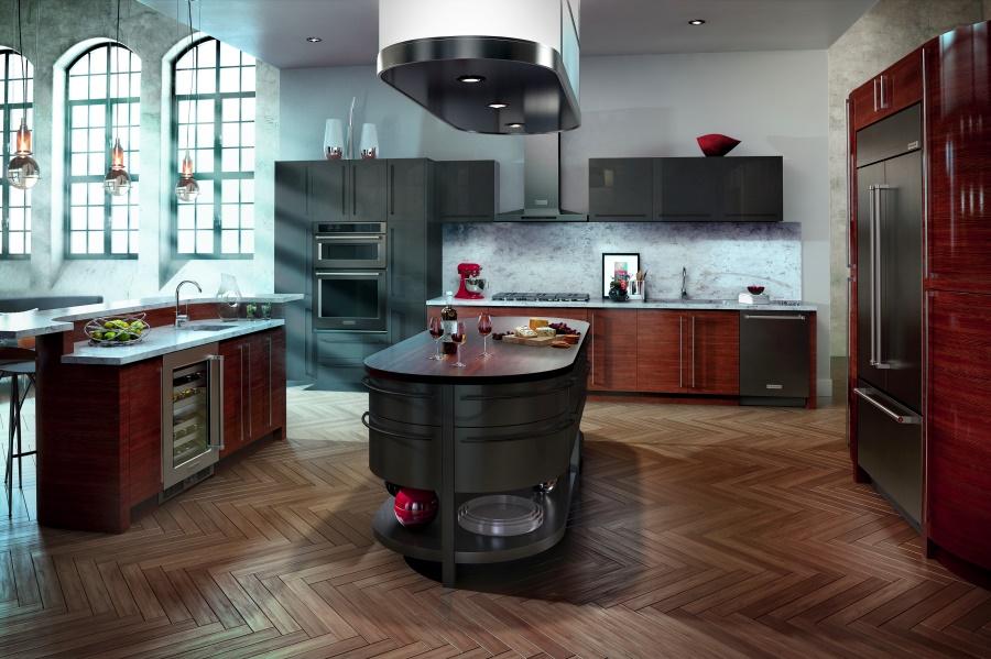 Тенденции в дизайне кухонь 2016 года - чёрная нержавеющая сталь в оформлении кухонного гарнитура