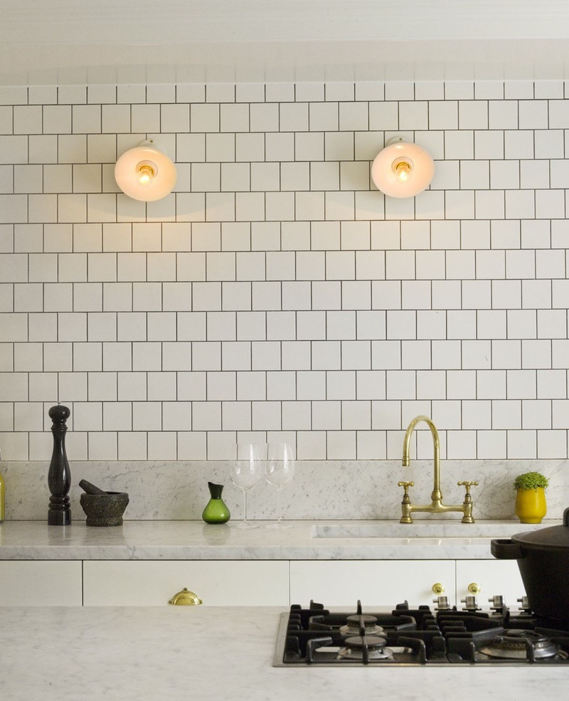 Gold subway tile