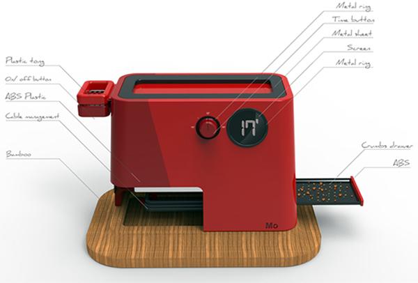 Красный тостер с лотком для крошек от Pierre Schwenke