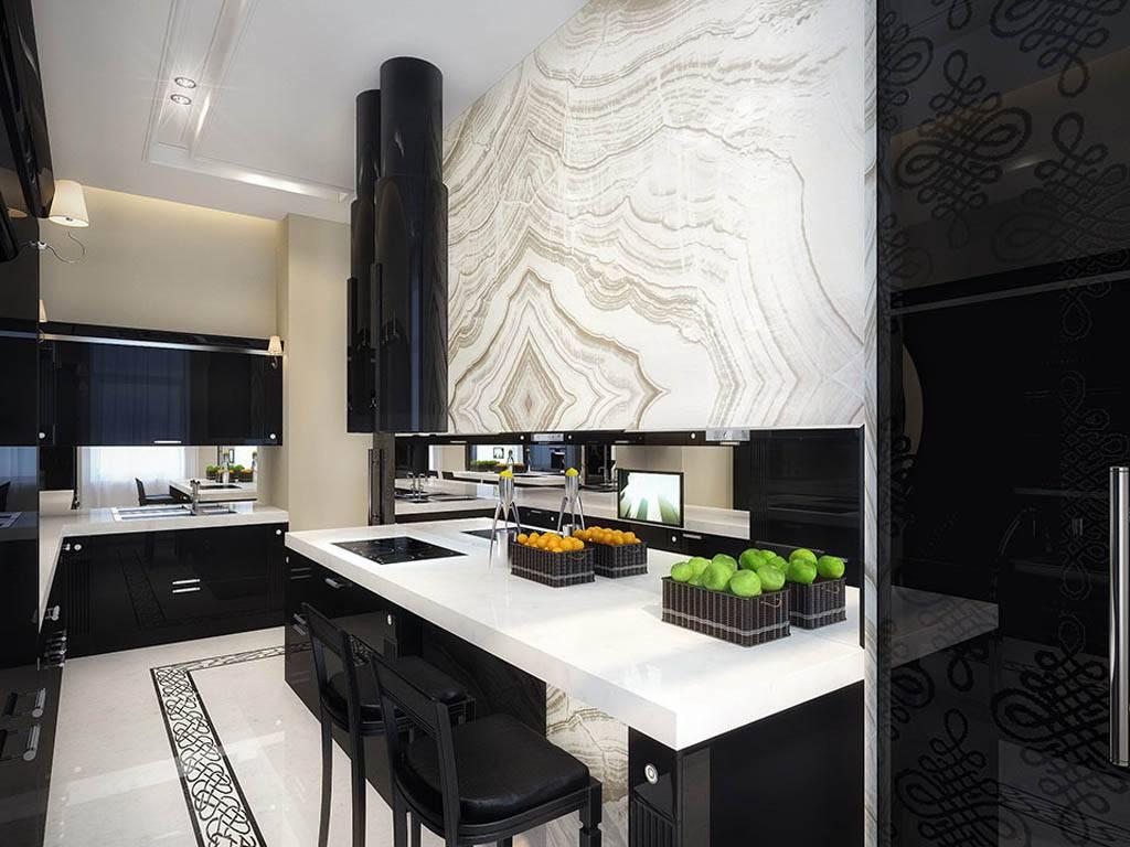 Оформление кухни в чёрно-белом цвете