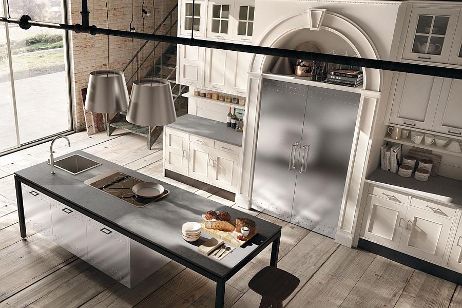 Универсальные кухонные композиции Montserrat от Marchi в белой гамме