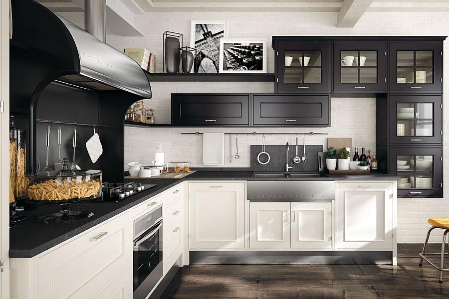 Универсальные кухонные композиции Montserrat от Marchi в чёрно-белом цвете
