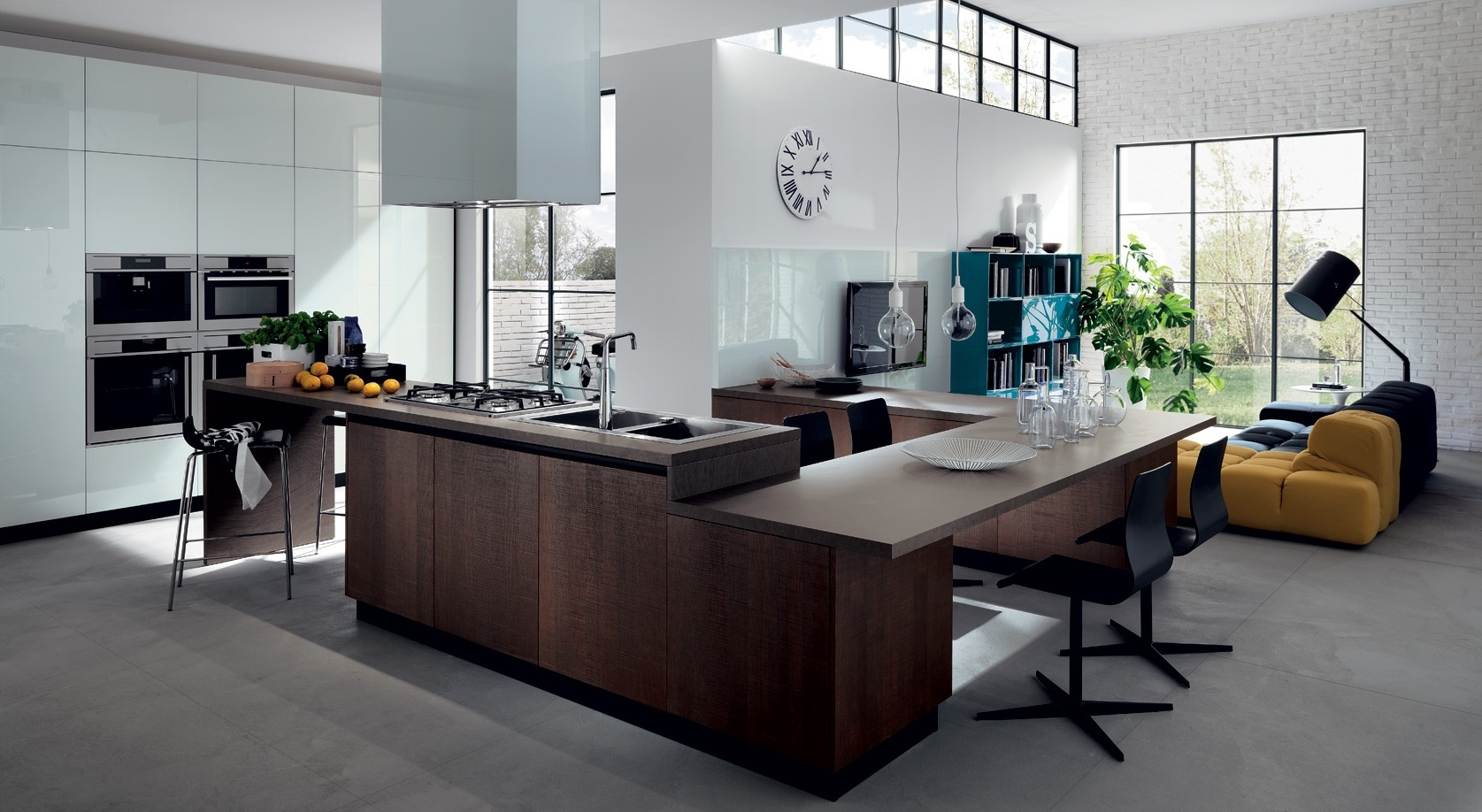 Восхитительный современный дизайн кухни от Scavolini в минималистском стиле