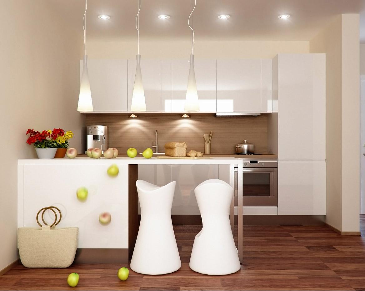 Деревянные полы в интерьере маленькой кухни