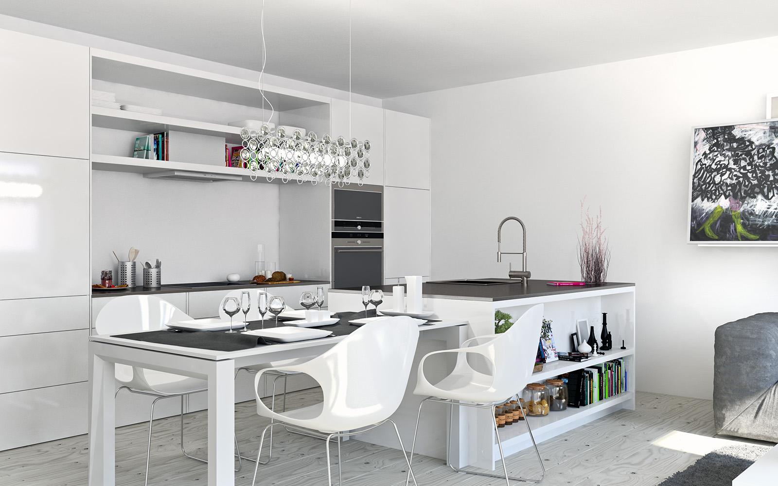 Кретивный подвесной светильник в интерьере белой кухни