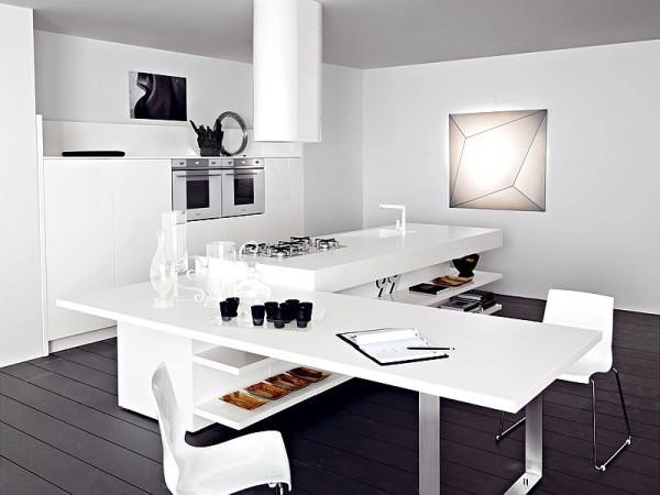 Кухонный остров, совмещенный с обеденным столом, в белом цвете
