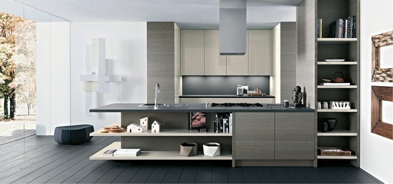 Универсальный дизайн кухни с открытыми полками и закрытыми шкафами