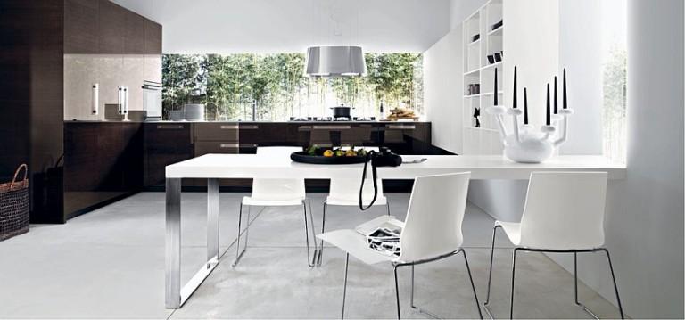 Современный модульный дизайн с легкостью позволяет совместить кухню и столовую