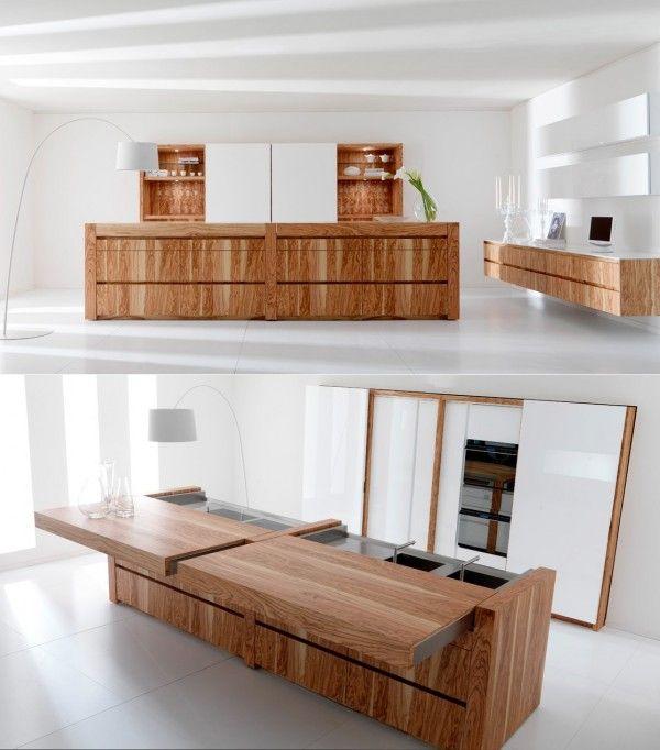 Уникальная модель кухонного острова с раздвижной столешницей
