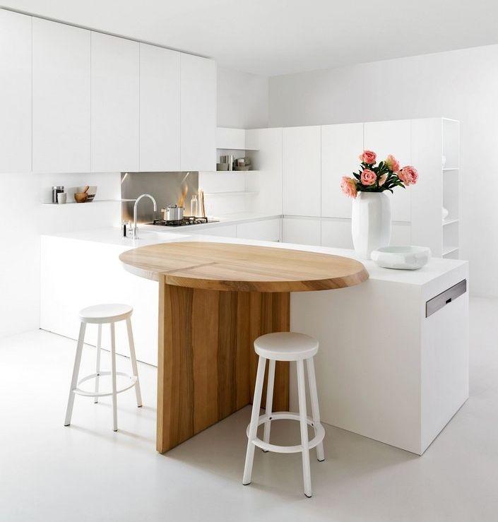 Уникальная модель кухонного острова с деревянной  откидывающейся столешницей