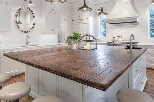 Уникальная модель современного кухонного острова со столешницей из натурального дерева