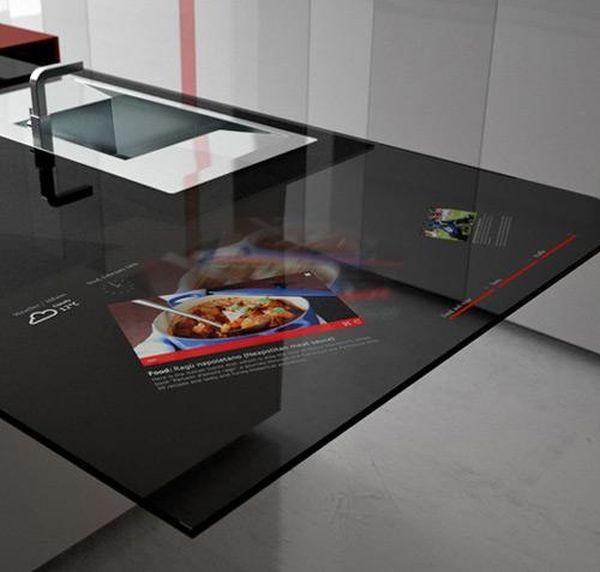 Интерактивный кухонный остров чёрного цвета в стиле хай-тек
