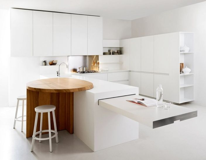 Оригинальный дизайн стола кухни Slim total white от Elmar