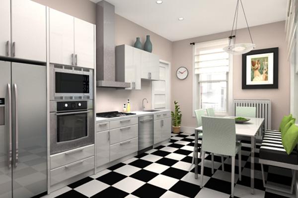 Чёрно-белое напольное покрытие «шахматка» в интерьере кухни