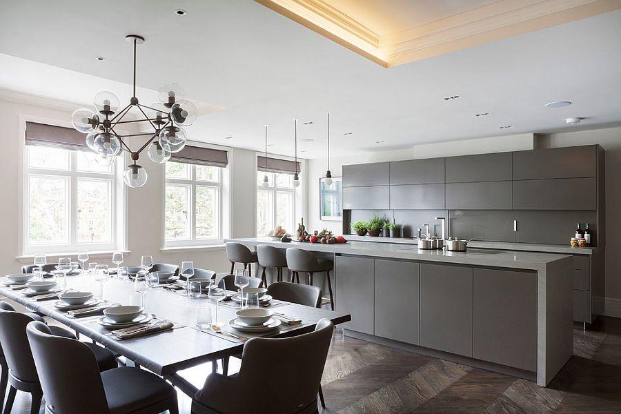 В какой цвет покрасить кухню: серый матовый гарнитур в интерьере