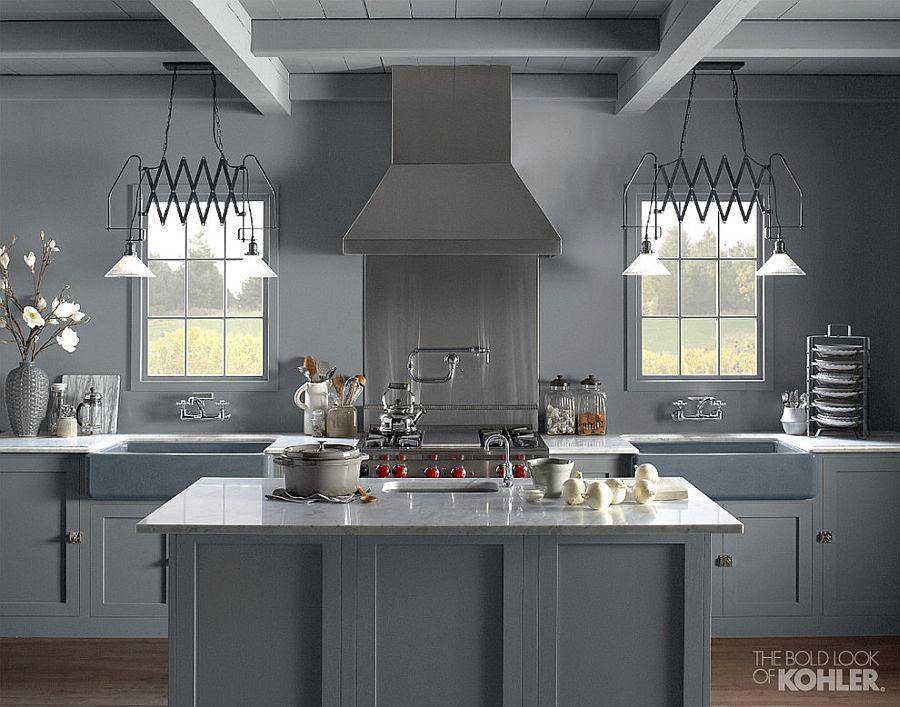В какой цвет покрасить кухню: интерьер в сором цвете - Фото 48