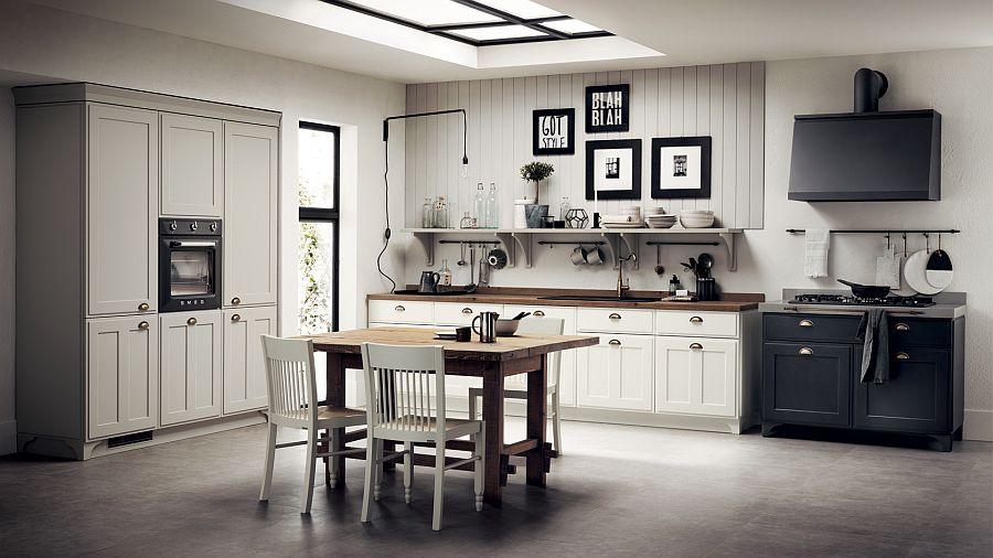 Варианты дизайна кухни: классическая кухня в чёрно-белом цвете