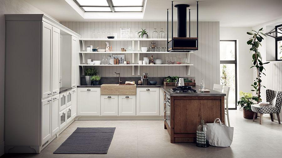 Светлый интерьер кухни в стиле ретро