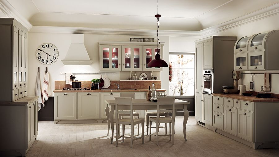 Бардовый светильник в интерьере кухни