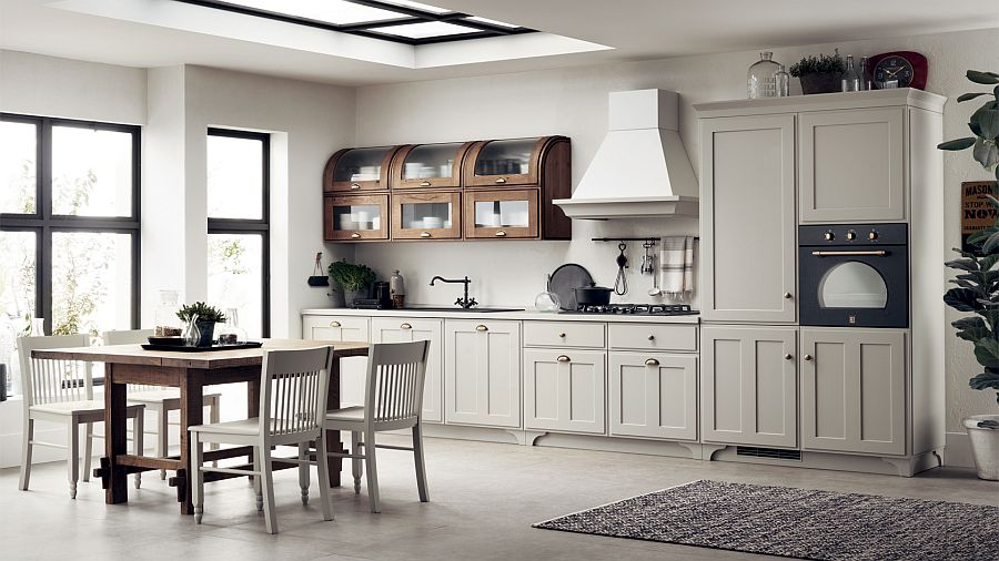 Необычные деревянные шкафчики в интерьере кухни