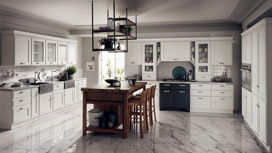 Белый мраморный пол в интерьере кухни