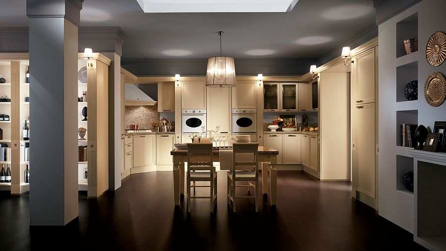 Бежевый гарнитур в интерьере кухни