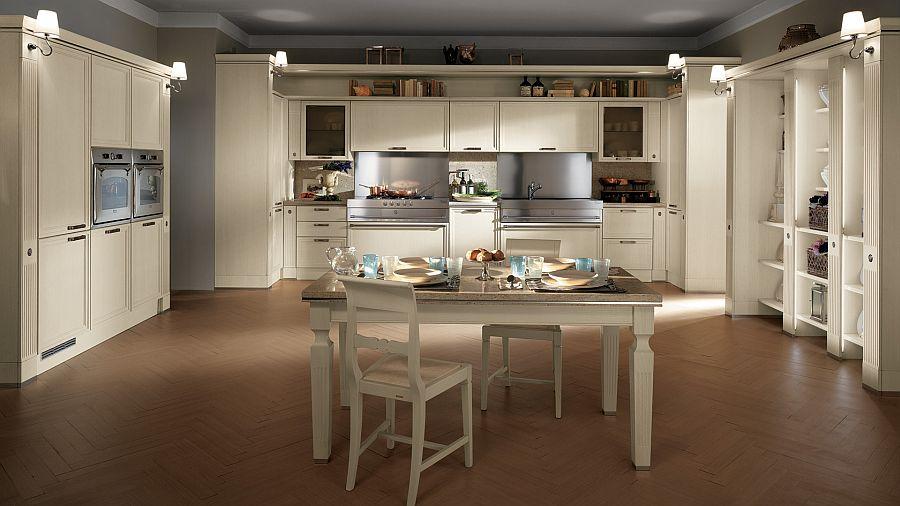 Светлый гарнитур в стиле ретро в интерьере кухни