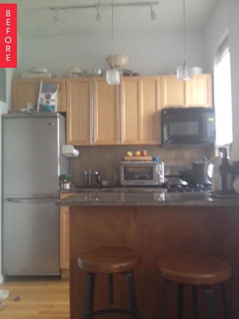 Кухня с деревянной мебелью до ремонта