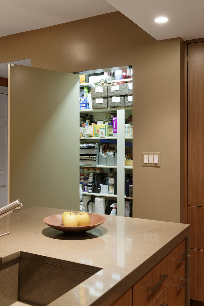 Варианты ремонта кухни: скрытая миниатюрная кладовая