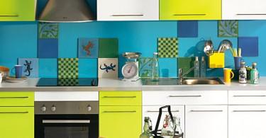 Дизайн интерьера кухни в бирюзовых тонах