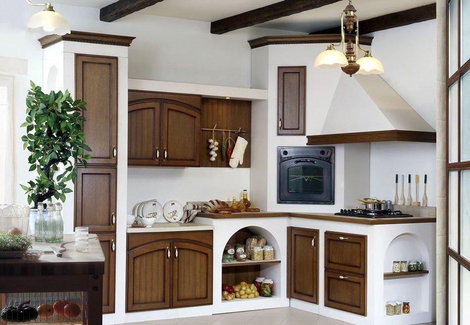 Встроенная техника в интерьере кухни «кантри»