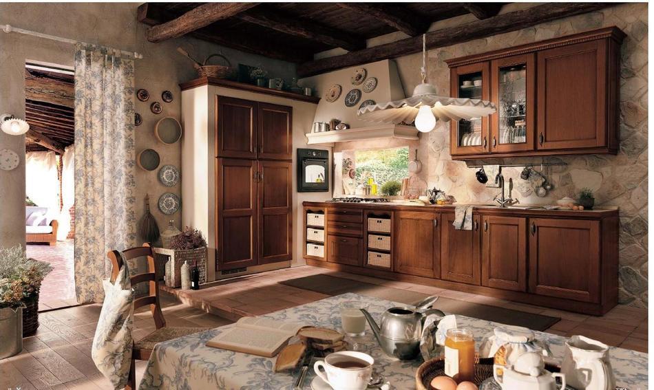 Встроенная техника в интерьере кухни английской тематики