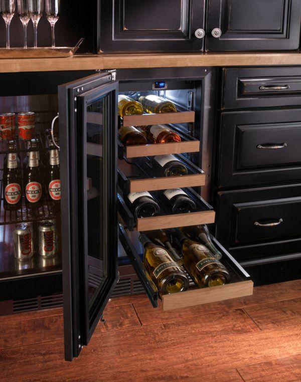 Выдвижные полки холодильников для бутылок