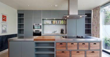 Выдвижные ящики на современной кухне