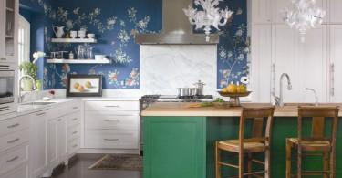 Цветочные обои в интерьере кухни от Andrea Schumacher Interiors
