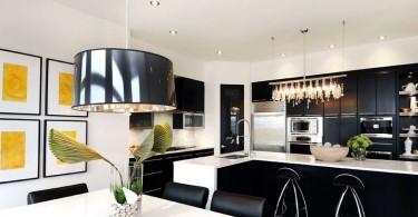 Потрясающий дизайн кухни в чёрно-белой гамме